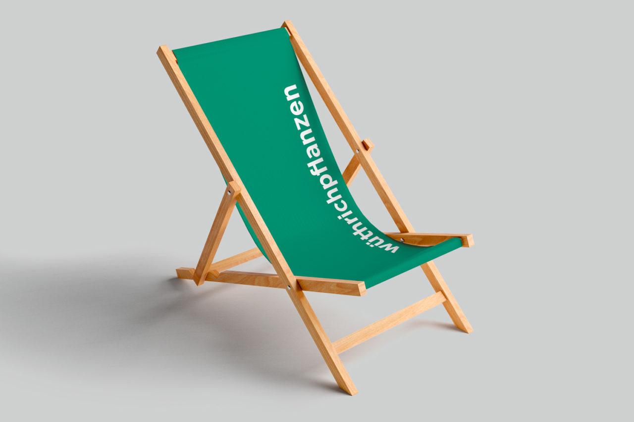 Wir drucken Liegestuhl individuell mit dem Logo.